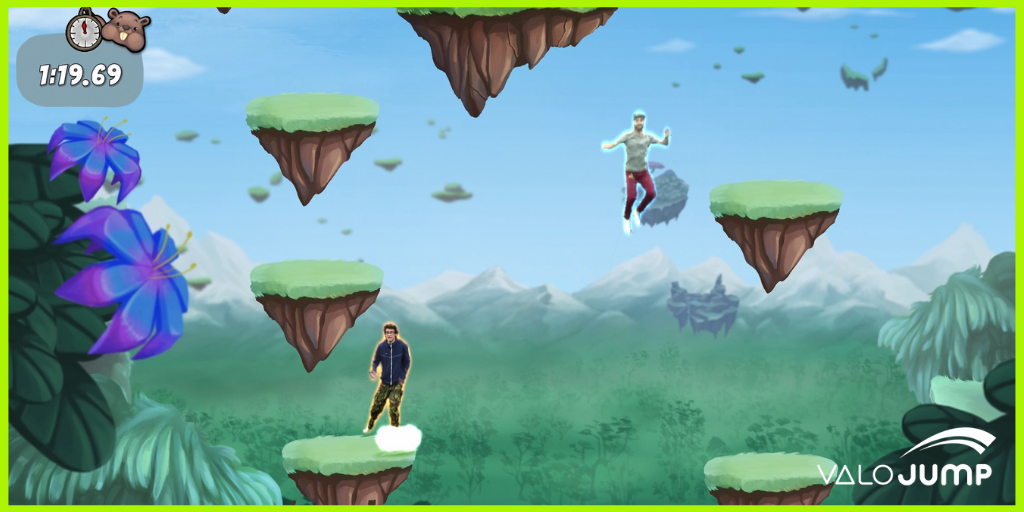 In ValoJump the players have physical distance while appearing in the same game
