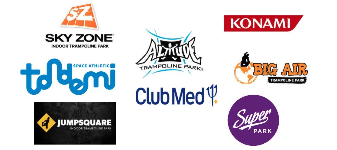 Valo Motion customers include Sky Zone, Konami, Altitude trampoline park, Club Med and many more
